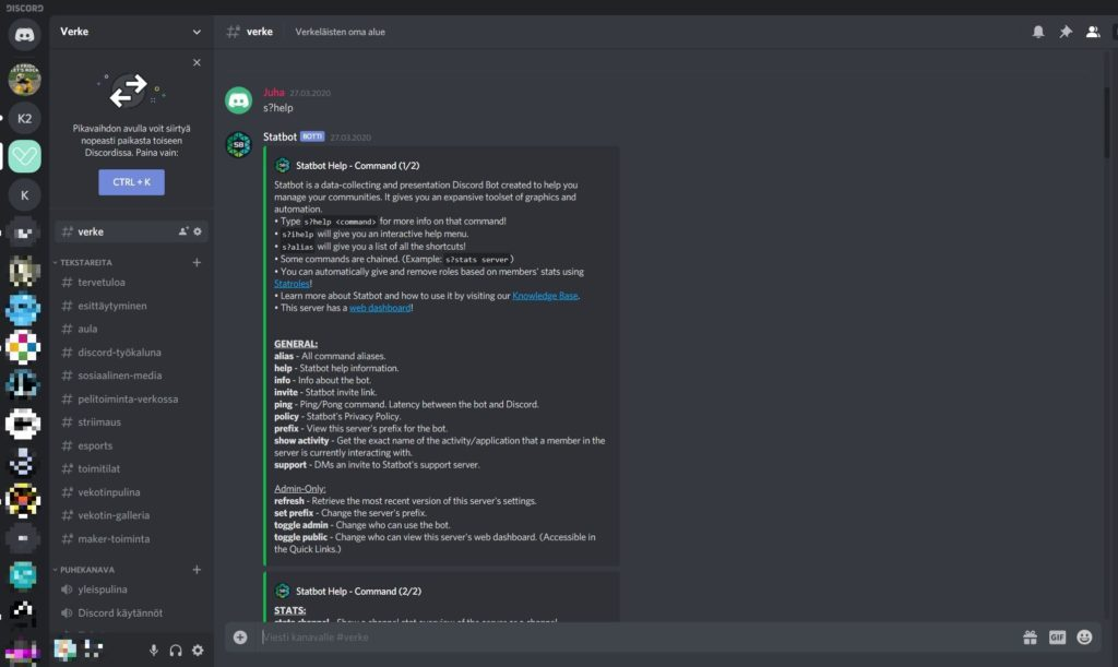 Verken Discord-palvelimella auki Statbot-sivu, jossa näkyy sivun analytiikkaa.