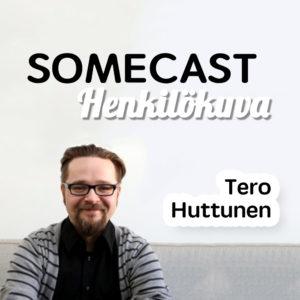 Kuva miehestä istumassa sohvalla hymyilemässä ja teksti Tero Huttunen