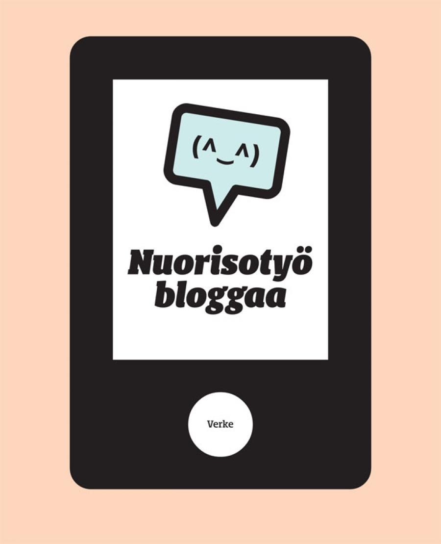Oranssilla pohjalla piirretty tabletti, jossa puhekupla ja teksti Nuorisotyö bloggaa