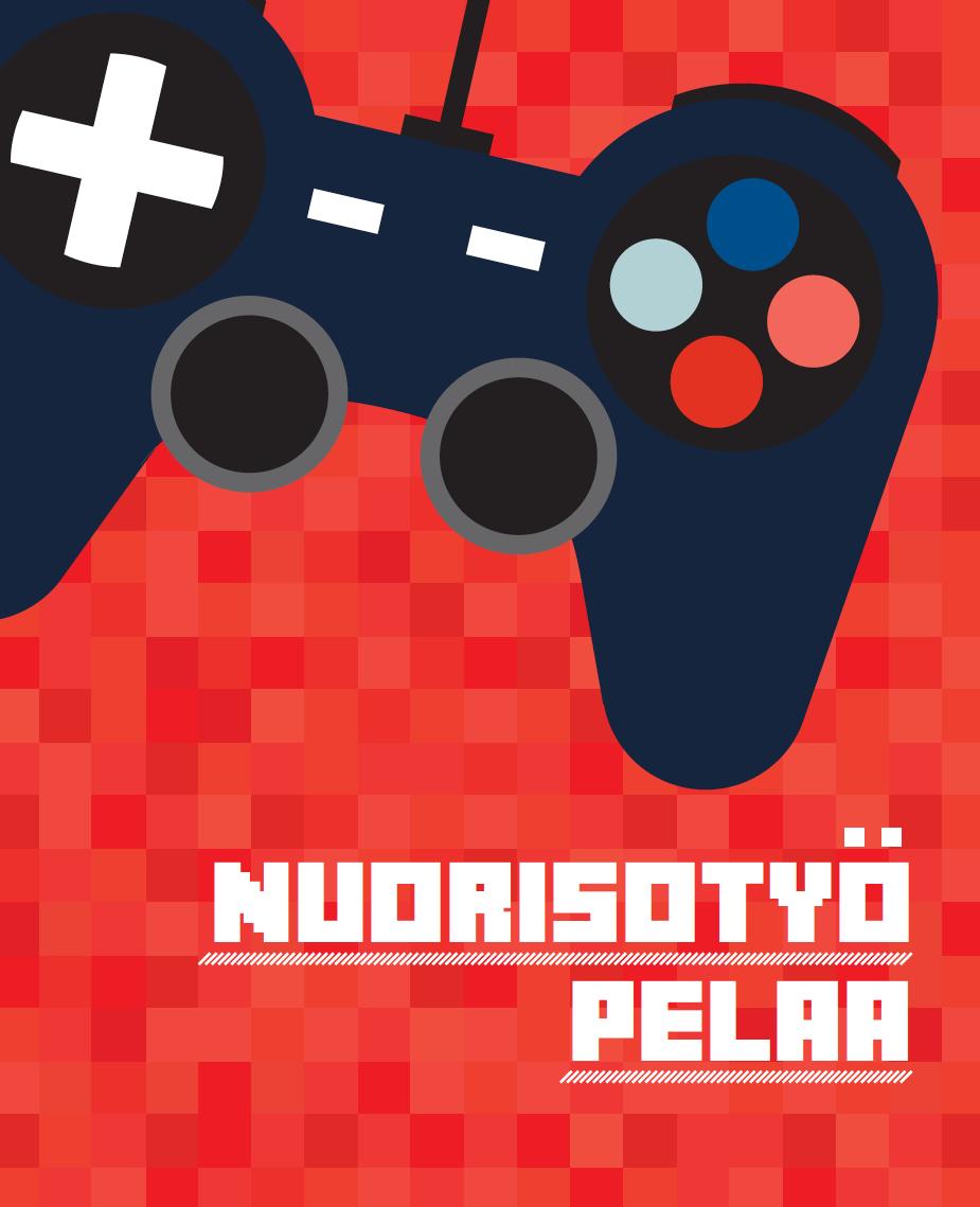Punaisella pohjalla piirretty pelikonsolin ohjain ja teksti Nuorisotyö pelaa