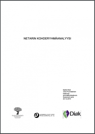Valkoisella taustalla otsikko Netarin kohderyhmäanalyysi ja hankkeen logot
