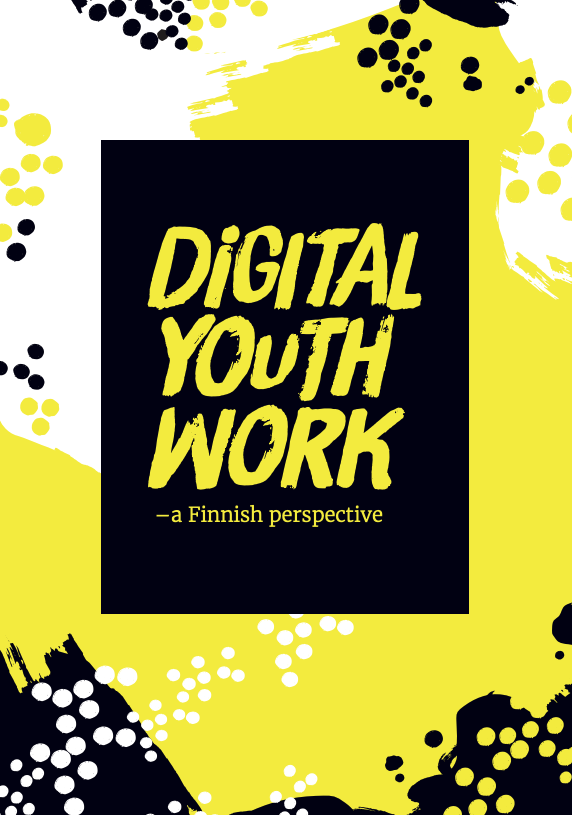 "Yellow and white background and a black box with the text ""Digital youth work - a Finnish perspective"""