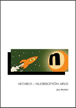 Valkoisella pohjalla pieni piirretty raketti joka lentää avaruudessa kohti N-kirjaimista planeettaa