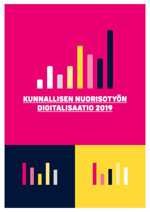 Pinkillä pohjalla kolme värikästä pylväsdiagrammia ja teksti Kunnallisen nuorisotyön digitalisaatio 2019