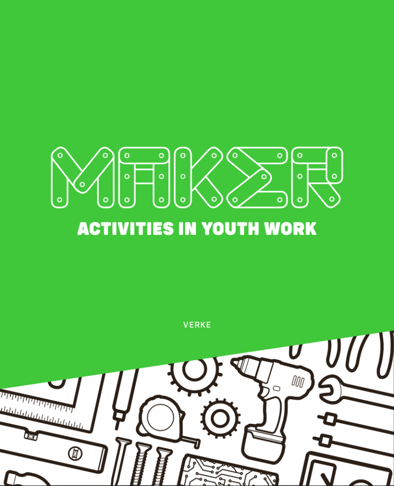 """Green book cover with tool symbols and the title """"Maker activities in youth work"""""""