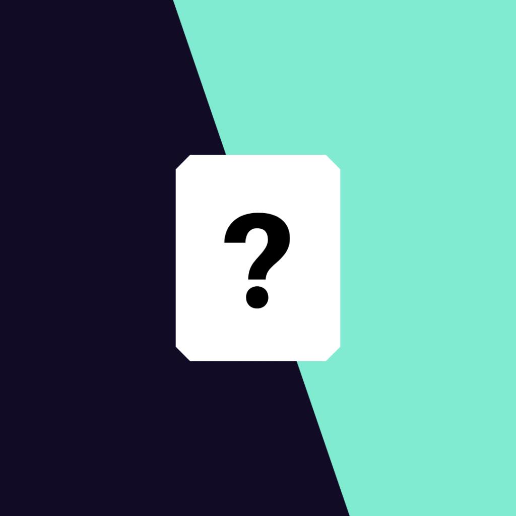 Tumman ja turkoosin värin yhteydessä valkoinen laatikko, jossa kysymysmerkki.