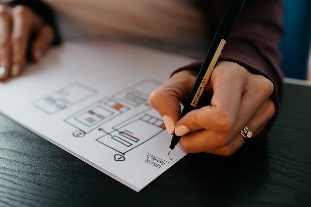 Hand ritar på papper