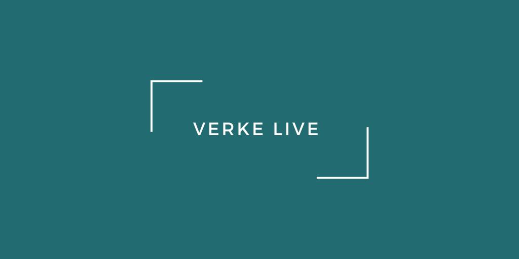 Valkoinen Verke LIVEn logo tumman vihreällä pohjalla.