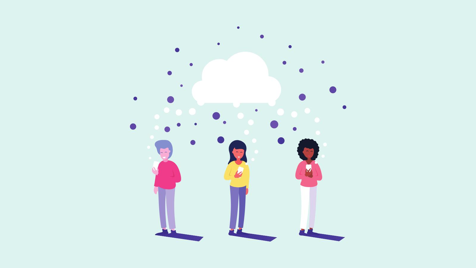 Piirrettyjä hahmoja seisää vierekkäin älylaitteet käsissä ja heidän ylleen muodostuu pilvi.